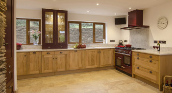 red wooden painted kitchen