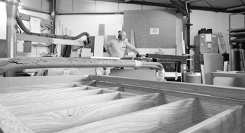 handmade wooden shelving being produced